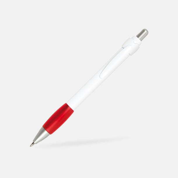 Röd / Vit Billig bläckpenna med vitt gummigrepp