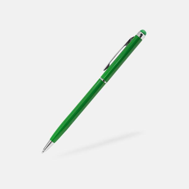 Grön Smala touchpennor med reklamlogo