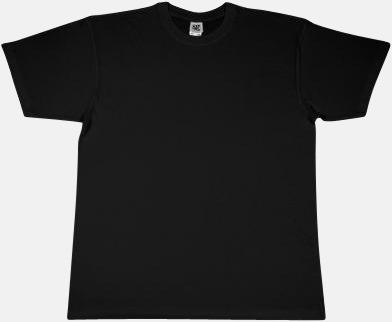 Svart Extra fina t-shirts i herr-, dam- och barnmodell med reklamtryck