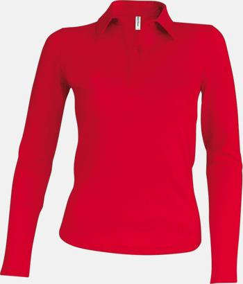 Röd Långärmade dampikéer i många färger med reklamtryck