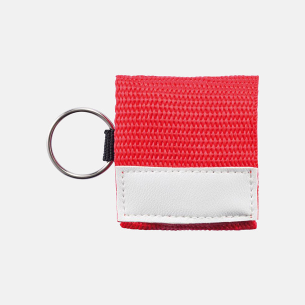 Röd Nyckelring med mun mot mun-mask - med reklamtryck