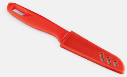 Röd Billig kniv med plastskydd med reklamtryck