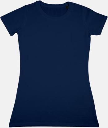 Marinblå Herr- & dam t-shirts i eko bomull med reklamtryck