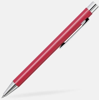 Röd Färgglada stiftpennor i metall med 360° gravyrlogo