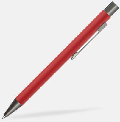 Röd Mjukare metall-stiftpennor med 360° gravyrlogga