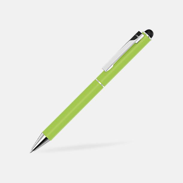 Ljusgrön Bläck- & styluspenna i metall med reklamlogo