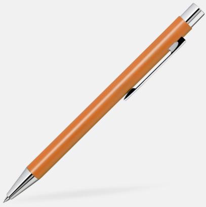 Orange Färgglada stiftpennor i metall med 360° gravyrlogo