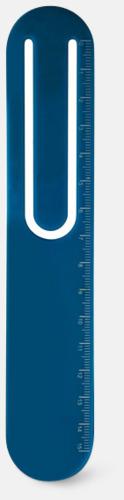 Blå Linjal, bokmärke & gem med reklamtryck