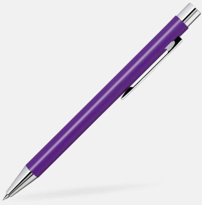 Violet Färgglada stiftpennor i metall med 360° gravyrlogo