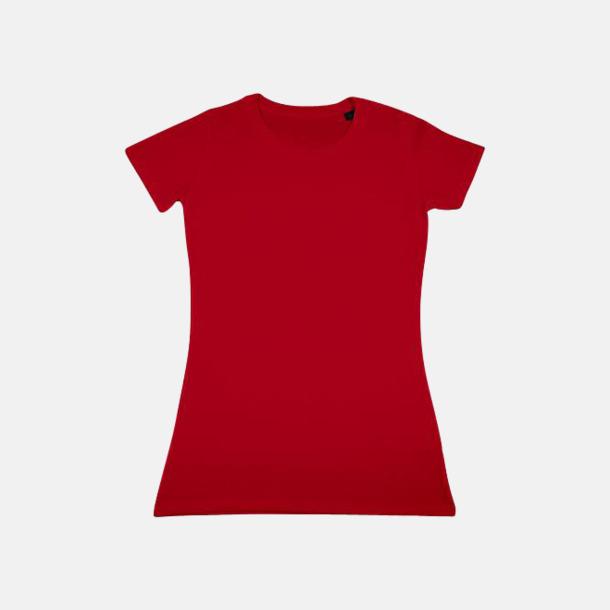 Röd Herr- & dam t-shirts i eko bomull med reklamtryck