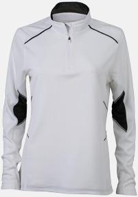 Vit/Svart (dam) Herr- & damfunktionströjor med reklamtryck