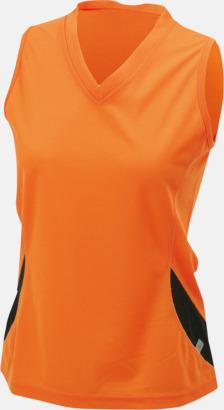 Orange/Svart (dam) Funktionslinnen i herr- och dammodell med reklamtryck