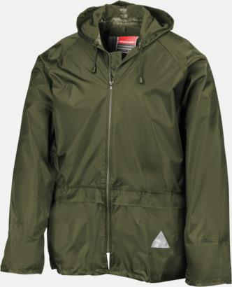 Olivgrön jacka (standard) Regnjacka & -byxor för vuxna och barn - med reklamtryck