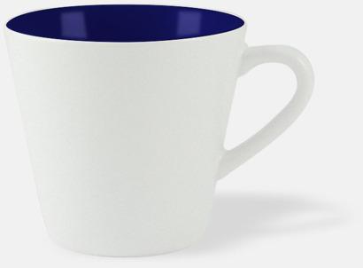 Vit / Marinblå Vackra kaffemuggar med reklamtryck