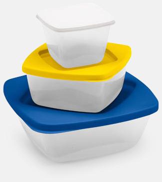 Tre matlådor i set med reklamtryck