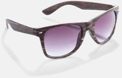 Mörkt trä Plastsolglasögon i träimitation med reklamtryck
