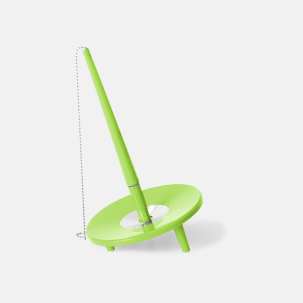 Neongrön Retro kulspetspenna med ställ med eget tryck