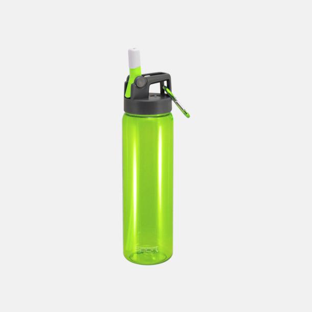 Lime Sportiga vattenflaskor med karbinhakar - med reklamtryck