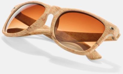 Ljust trä Plastsolglasögon i träimitation med reklamtryck
