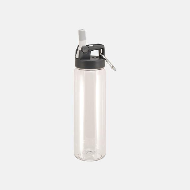 Transparent Sportiga vattenflaskor med karbinhakar - med reklamtryck