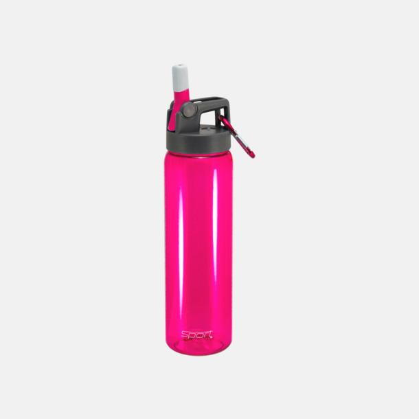 Magenta Sportiga vattenflaskor med karbinhakar - med reklamtryck