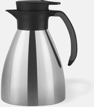 Silver / Svart 1 liters termoskannor med reklamtryck