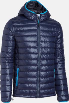 Marinblå Glansiga täckjackor med reklamtryck