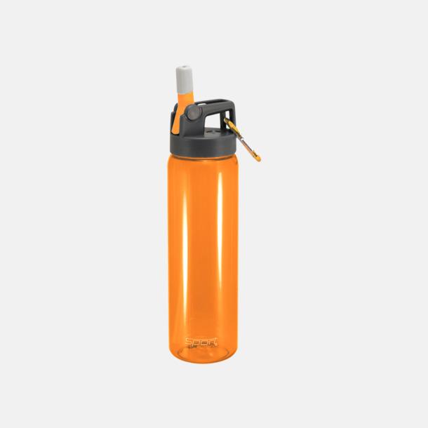 Orange Sportiga vattenflaskor med karbinhakar - med reklamtryck