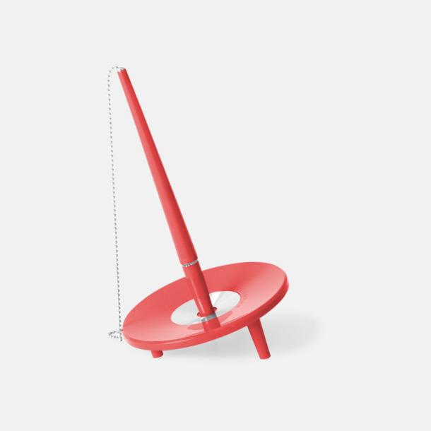 Röd Retro kulspetspenna med ställ med eget tryck