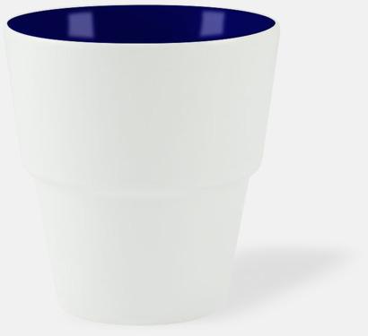 Vit / Marinblå 23 cl muggar med reklamtryck