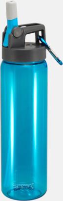 Cyan Sportiga vattenflaskor med karbinhakar - med reklamtryck