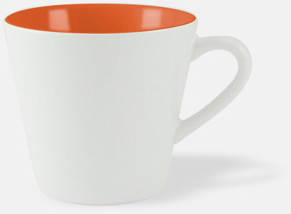 Vit / Orange Vackra kaffemuggar med reklamtryck