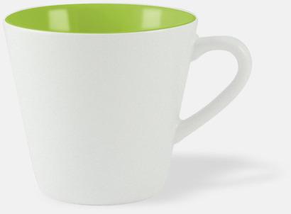 Vit / Limegrön Vackra kaffemuggar med reklamtryck