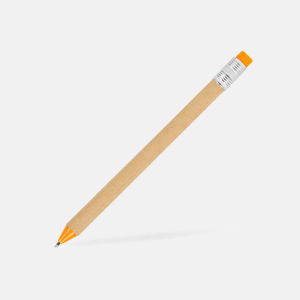 Beige / Orange Eko bläckpennor med tryckknapp i kontrastfärg - med reklamtryck