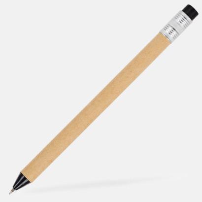 Beige / Svart Eko bläckpennor med tryckknapp i kontrastfärg - med reklamtryck