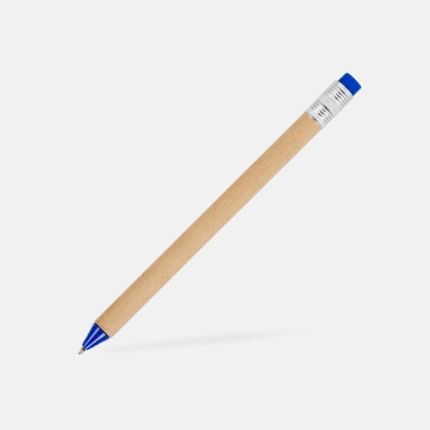 Beige / Blå Eko bläckpennor med tryckknapp i kontrastfärg - med reklamtryck