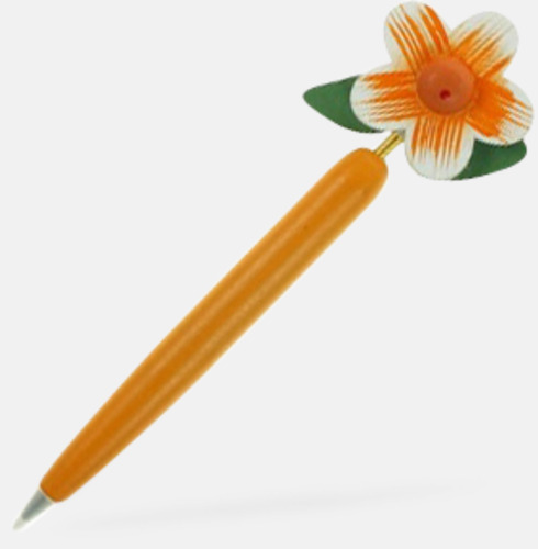 Gul / Vit Bläckpennor med blommor - med reklamtryck