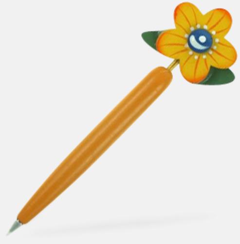 Gul Bläckpennor med blommor - med reklamtryck