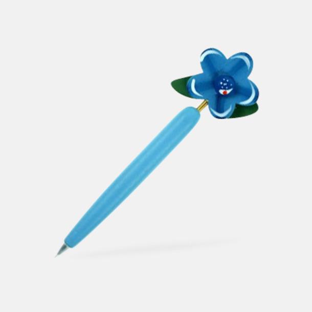 Blå Bläckpennor med blommor - med reklamtryck