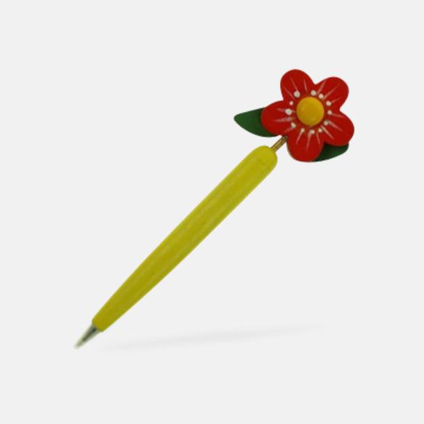 Gul / Röd Bläckpennor med blommor - med reklamtryck