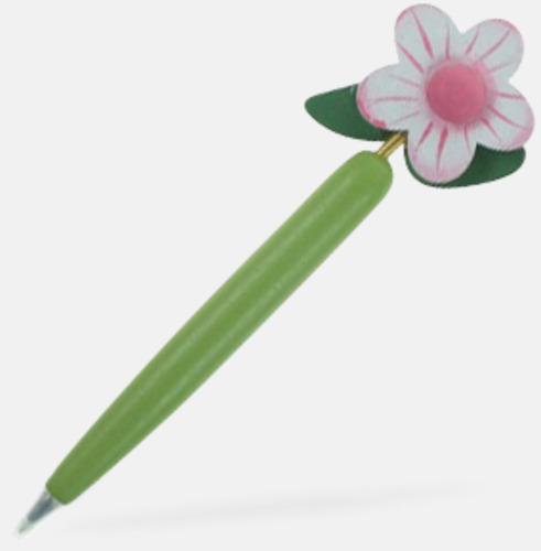 Grön / Rosa Bläckpennor med blommor - med reklamtryck