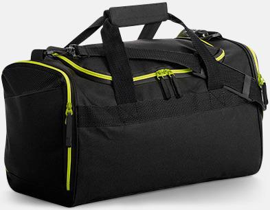 Svart/Neon Lime Sportbagar i olika mönster med reklamtryck
