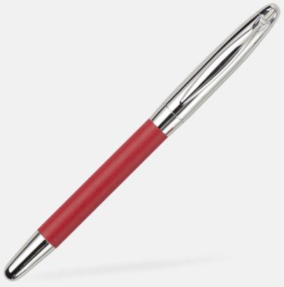 Rollerballpenna (röd) Pennset i fodral med metallplatta - med reklamtryck