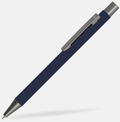 Mörkblå Metallpennor i soft touch-hölje med reklamlogo