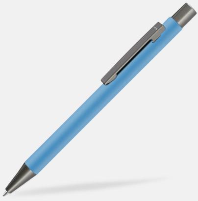 Ljusblå Metallpennor i soft touch-hölje med reklamlogo