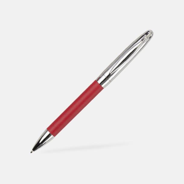 Kulspetspenna (röd) Pennset i fodral med metallplatta - med reklamtryck