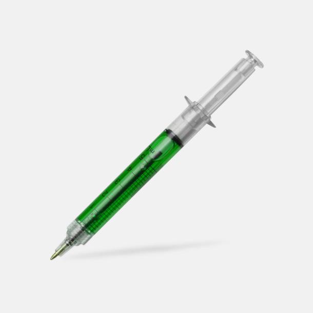 Grön Kulspetspenna formad som en spruta - med reklamtryck