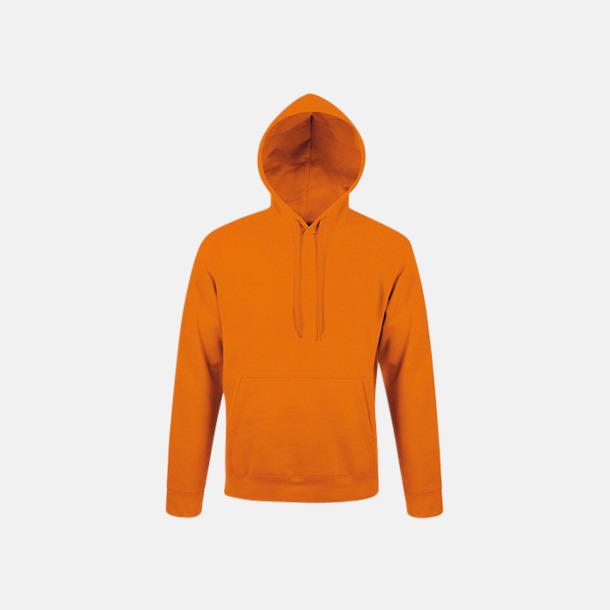 Orange Tjocka huvtröjor i unisexmodell med reklamtryck
