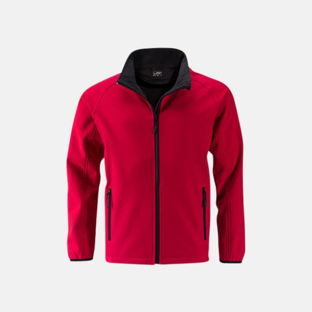 Röd/svart (herr) Herr- & damjackor i softshell - med reklamtryck