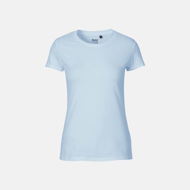 Ljusblå (dam) Fitted t-shirts i ekologisk fairtrade-bomull med tryck